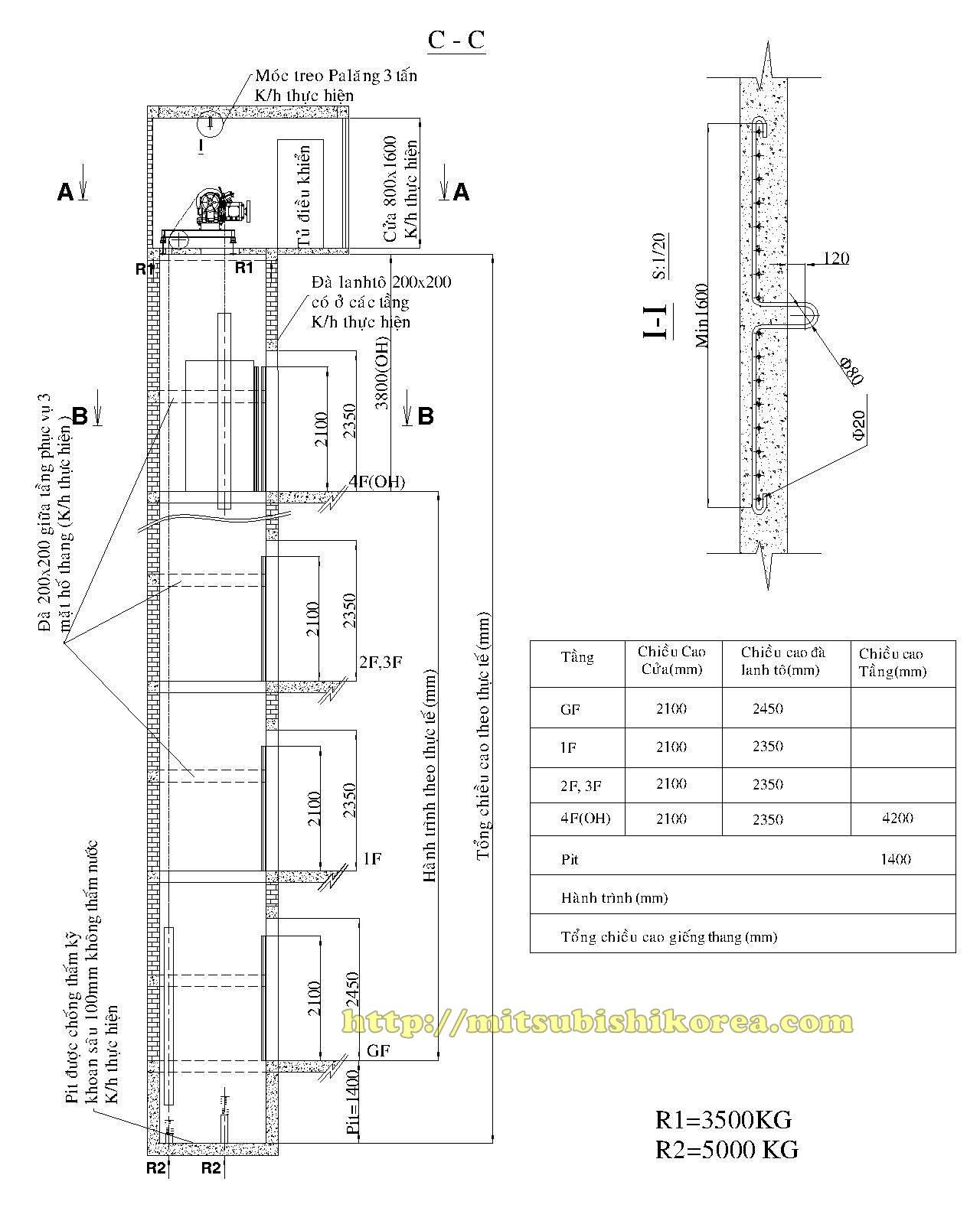 Bản vẽ thi công hố thang máy