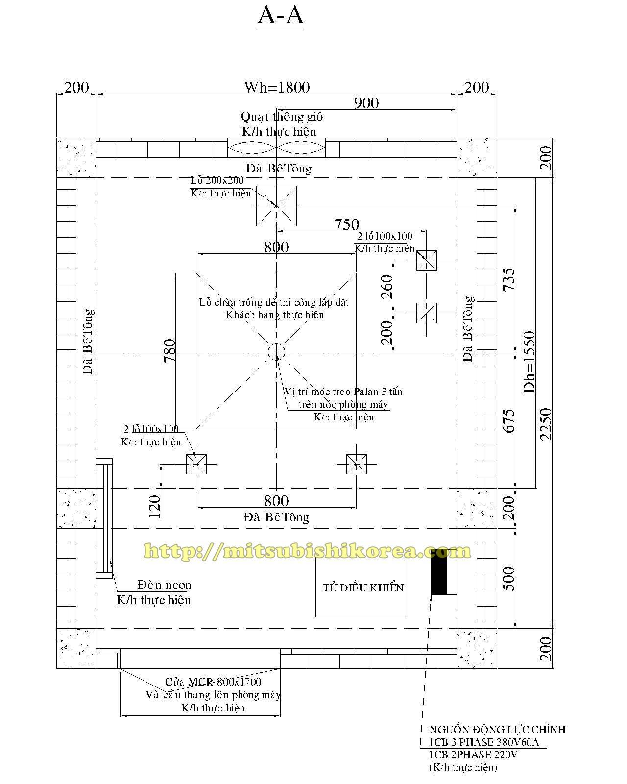Bản vẽ thang máy gia đình - phòng máy